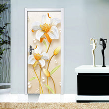 Load image into Gallery viewer, Fashion Creative Self Adhesive Door Sticker 3D Flower PVC Waterproof Living Room Bathroom Decor Wall Decals Wallpaper Painting - WallpaperUniversity