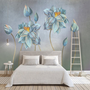 Hand-painted Oil Painting Flower Retro Nordic Minimalist Living Room Sofa Background Wall Home Decoration Wallpaper Custom Mural - WallpaperUniversity