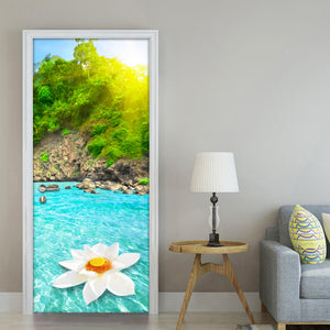 Sunshine Mountain Water Natural Scenery 3D Wall Painting Living Room Bedroom Door Sticker PVC Mural Photo Wallpaper Waterproof - WallpaperUniversity