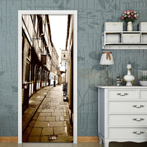 2pcs/Set Door Stickers Home Decor Self-adhesive 3D Street View Mural PVC Waterproof Living Room Bedroom Door Sticker Wall Decals - WallpaperUniversity
