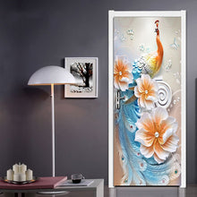Load image into Gallery viewer, Modern Simple Abstract Art Color Peacock Background Wall Home Decoration Living Room Door Sticker PVC Waterproof Mural Wallpaper - WallpaperUniversity