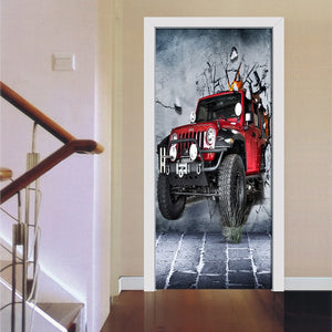3D Wall Cool Red Cartoon Car Mural Wallpaper Wall Roll Living Room Bedroom Door Self Adhesive Vinyl Waterproof 3D Wall Painting - WallpaperUniversity