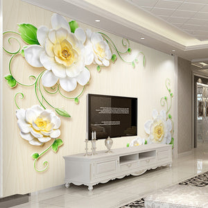 Custom Any Size 3D Stereo Relief Flower Large Mural Wallpaper Living Room TV Background Decoration Wall Painting Wall Covering - WallpaperUniversity