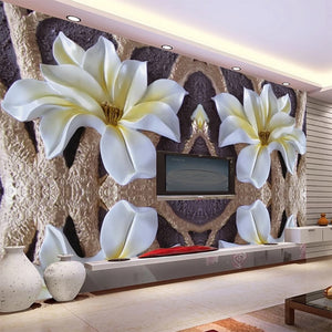 Custom Mural Wallpaper 3D Embossed Flower Mural Living Room Bedroom TV Background Wall Decoration Painting Modern Wall Paper - WallpaperUniversity