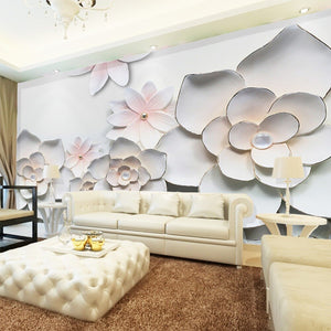 Custom 3D Photo Wallpaper Simple Modern 3D Stereoscopic Relief Flower TV Background Living Room Bedroom Wall Mural Wallpaper - WallpaperUniversity