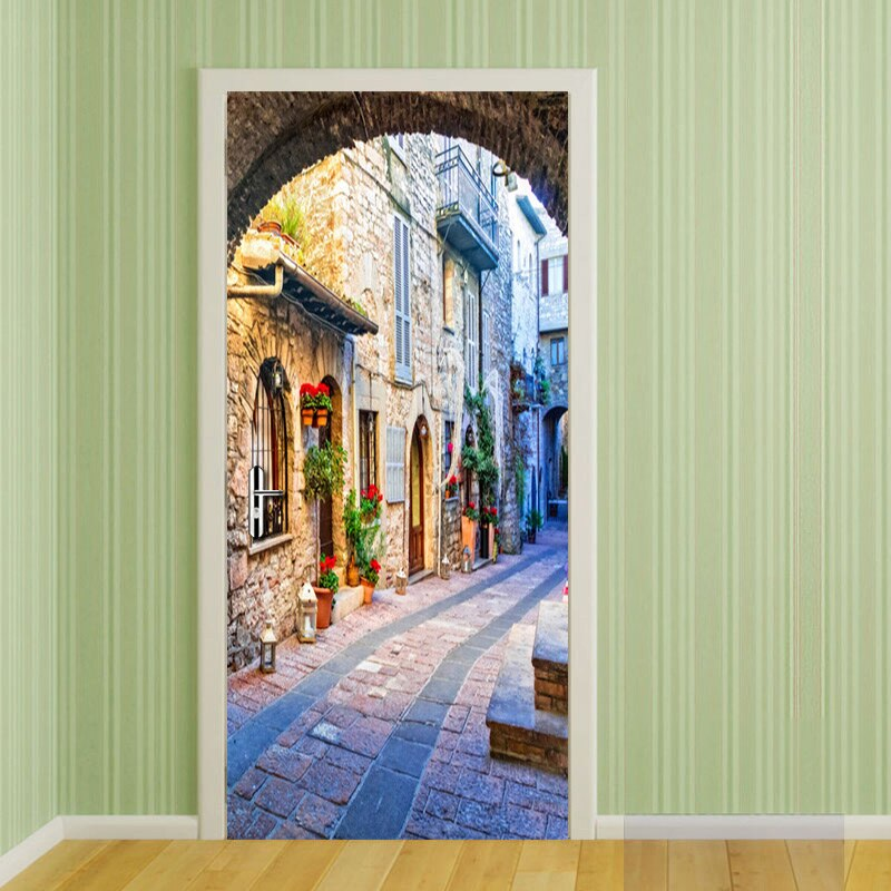 Italian Town Street View Door Mural Wallpaper For Living Room Bedroom Door Sticker Decoration Self-Adhesive Waterproof Tapety - WallpaperUniversity