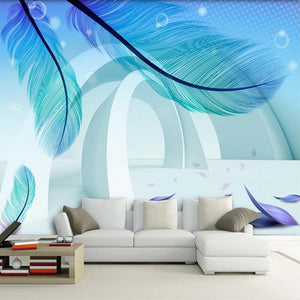 Custom Photo Wallpaper Modern Simple Fashion 3D Stereo Space Blue Feather Creative Art Mural Paintings Wallpaper Living Room - WallpaperUniversity