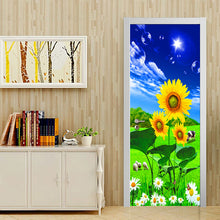 Load image into Gallery viewer, 3D Photo Wallpaper Blue Sky White Clouds Sunflower Grassland Scenery Living Room Bedroom Door Sticker PVC Mural Self-adhesive - vouswall.com