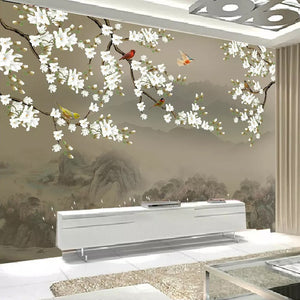 Custom 3D Photo Wallpaper For Bedroom Walls Classical Hand Painted Magnolia Flower Bird Living Room TV Background Wall Mural - WallpaperUniversity