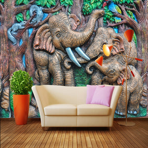 Custom Photo Mural Wallpaper Art Abstract Wall Painting 3D Stereoscopic Forest Elephant Background Wall Decor Murals Wallpaper - WallpaperUniversity