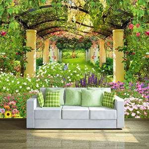 Custom 3D Photo Wallpaper Pastoral Landscape Flower Butterfly Wall Painting Restaurant Living Room Entrance Wall Mural Wallpaper - WallpaperUniversity