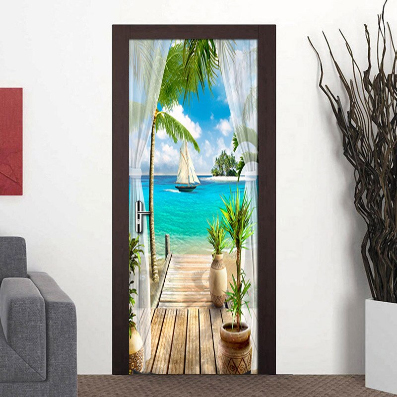 Custom Photo Wallpaper Mural 3D Window Blue Sky White Clouds Coconut Tree Landscape Mural PVC Self-adhesive Door Stickers Fresco - WallpaperUniversity