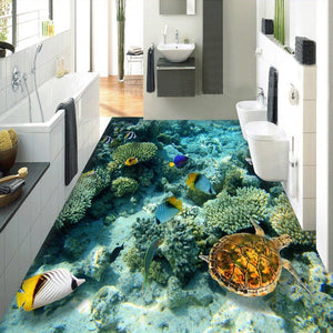 Custom Photo Floor Wallpaper 3D Stereoscopic Underwater World Coral Turtle 3D Mural PVC Self-adhesive Waterproof Floor Wallpaper - WallpaperUniversity