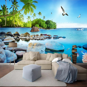 Custom Wall Mural Paper Beautiful 3D Seascape Island Poster Photo Wallpaper Living Room Bedroom Home Decoration Wall Painting - WallpaperUniversity