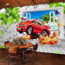 Load image into Gallery viewer, Pastoral Style Children Room Bedroom Wall Decoration Mural Wallpaper 3D Stereoscopic Window Cartoon Car Broken Wall Large Murals - WallpaperUniversity