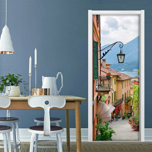 Creative DIY Self-adhesive 3D Door Sticker Mural Wallpaper Town Scenery Living Room Bedroom Door Stickers Home Decor Wall Paper - WallpaperUniversity