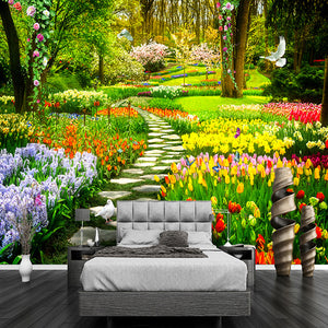 Custom Wall Mural 3D Garden Park Small Road Scenery Photography Background Photo Wallpaper For Wall Painting Living Room Bedroom - WallpaperUniversity