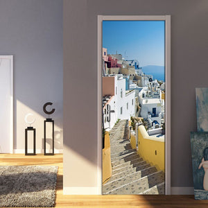 Living Room Bedroom Door Mural Sticker European City Landscape Ladder PVC Waterproof Self-adhesive Door Decoration 3D Wallpaper - vouswall.com