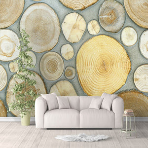 Nordic Style Creative Art Mural Wall Paper 3D Stereoscopic Wood Grain Annual Rings Fashion Background Decoration Wall Painting - WallpaperUniversity