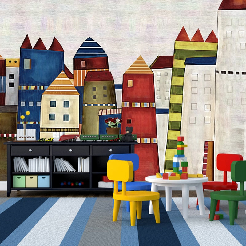 Custom Mural Wallpaper Mediterranean Painted 3D Cartoon Castle Children's Room Bedroom Restaurant Non-woven Background Wallpaper - WallpaperUniversity