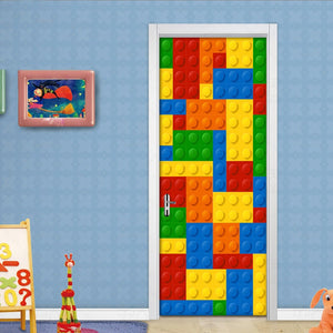 3D Wall Mural Wallpaper Kids Room Lego Bricks Children Room Bedroom Decoration Self-adhesive Door Sticker PVC Mural Waterproof - WallpaperUniversity