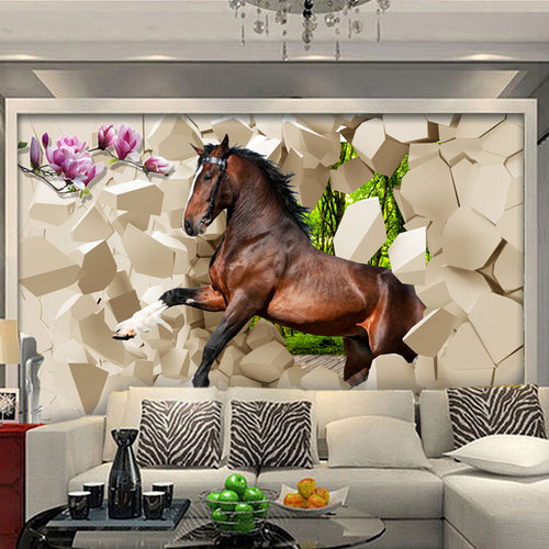 3D Stereoscopic Horse Broken Wall Wallpapers For Bedroom Living Room Sofa Background Wall Mural Custom Non-woven Photo Wallpaper - WallpaperUniversity