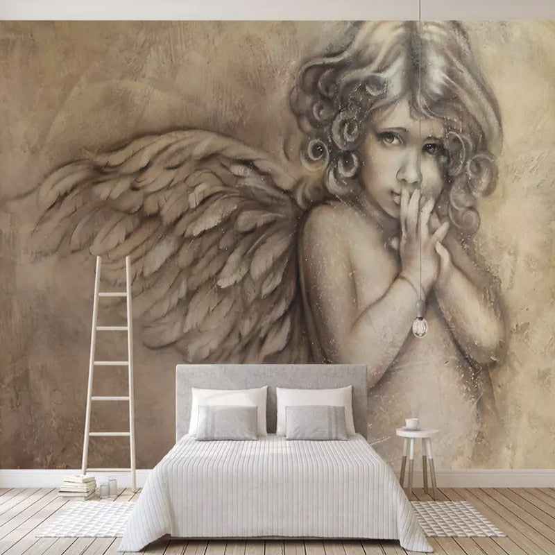 Custom 3D Wall Murals Wallpaper Painting European Style 3D Embossed Angel  Mural Living Room TV Background Wall Decor Wall Paper - WallpaperUniversity
