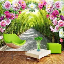 Load image into Gallery viewer, Custom 3D Mural Wallpaper Livingroom Bedroom Sofa Background Wallpaper Garden Flowers Flower Door Gallery Extend Space Wallpaper - WallpaperUniversity