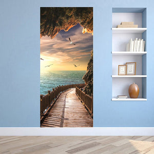 Cave Wooden Bridge Sunrise Seascape 3D Door Sticker Mural Wallpaper Living Room Bedroom PVC Waterproof Door Stickers Home Decor - WallpaperUniversity