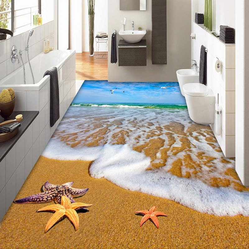 Beach Sea Water 3D Bathroom Living Room Dining Room Floor Sticker Mural Non-slip Thickened PVC Waterproof Mural Wallpaper Custom -