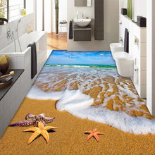 Load image into Gallery viewer, Beach Sea Water 3D Bathroom Living Room Dining Room Floor Sticker Mural Non-slip Thickened PVC Waterproof Mural Wallpaper Custom -