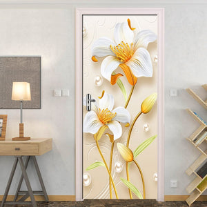 Fashion Creative Self Adhesive Door Sticker 3D Flower PVC Waterproof Living Room Bathroom Decor Wall Decals Wallpaper Painting - WallpaperUniversity