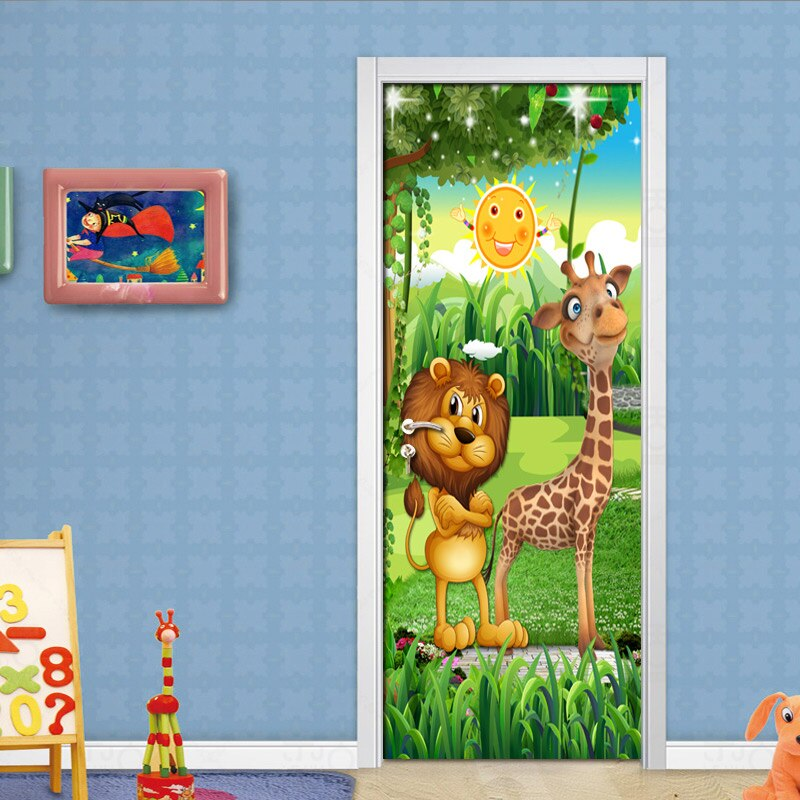 Forest Animal Children Room Bedroom Door Stickers PVC Mural 3D Photo Wallpaper Creative DIY Waterproof Door Sticker Decoration - WallpaperUniversity