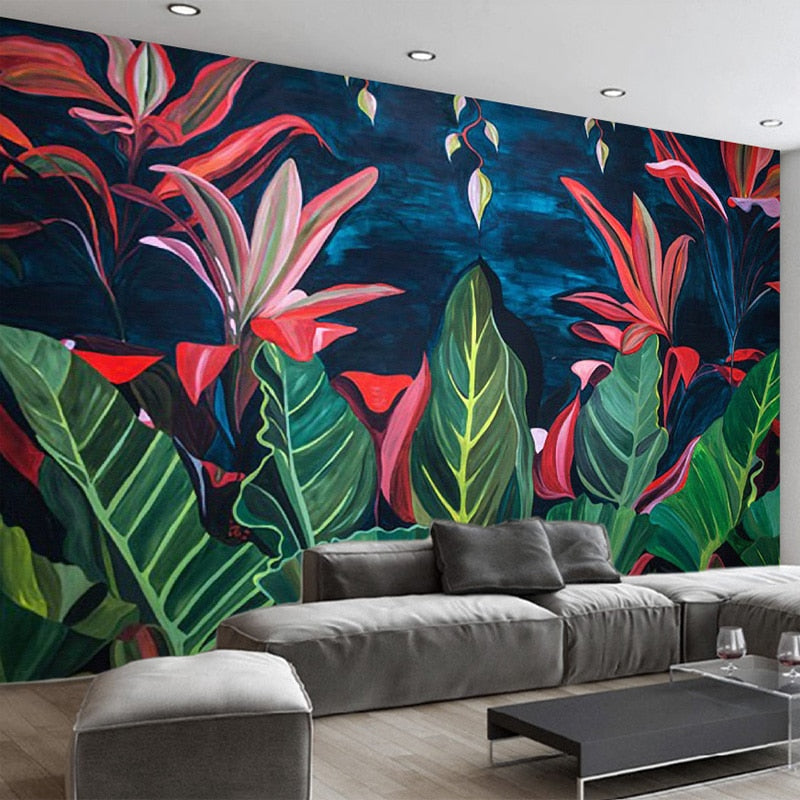 Custom Large Mural European Retro Rainforest Banana Leaves Living Room Sofa Background Decorative Non-Woven Waterproof Wallpaper - WallpaperUniversity