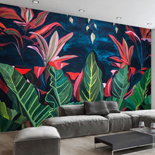 Load image into Gallery viewer, Custom Large Mural European Retro Rainforest Banana Leaves Living Room Sofa Background Decorative Non-Woven Waterproof Wallpaper - WallpaperUniversity