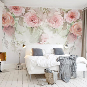 Custom Photo Wall Paper Rose Flowers Hand Painted Watercolor 3D Murals Wallpaper For Living Room Bedroom Wall Painting Modern 3D - WallpaperUniversity