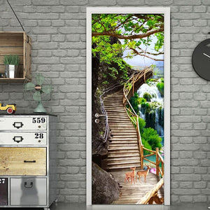 3D Door Wallpaper Waterfall Nature Landscape Door Sticker Photo Wall Mural De Parede 3D PVC Self Adhesive Waterproof Home Decor - vouswall.com