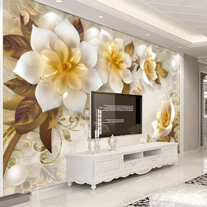 Custom Mural Wall Painting European Style 3D Stereoscopic Embossed Golden Flower Wallpaper Living Room TV Background Decoration - WallpaperUniversity
