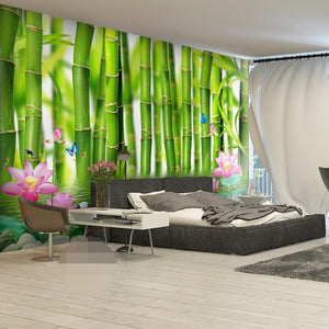 Custom 3D Photo Wallpaper For Walls 3 D Lotus Flower Bamboo Forest Wall Painting Living Room Bedroom Mural Wallpaper Home Decor - WallpaperUniversity