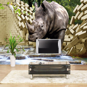 Custom Large Mural Wall Paper 3D Stereo Rhino Broken Wall TV Background Photo Wallpaper Living Room Bedroom Non-woven Wallpaper - WallpaperUniversity