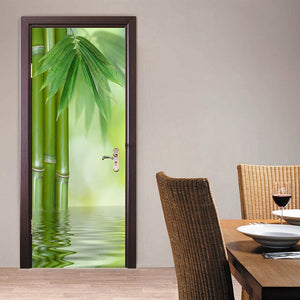 Green Bamboo Forest Leaf 3D Photo Wallpaper Home Decor Modern Living Room Bedroom Door Sticker PVC Mural Self-adhesive Wallpaper - WallpaperUniversity