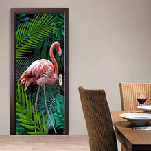Load image into Gallery viewer, 3D Photo Wallpaper Hand-painted Tropical Rainforest Flamingo Background Living Room Study Bedroom Door Sticker PVC Mural Fresco - WallpaperUniversity