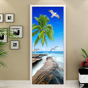 Modern Simple Living Room Door Decoration Sticker Mural PVC Self-adhesive 3D Sea View Coconut Trees Reef Stone Photo Wallpaper - WallpaperUniversity