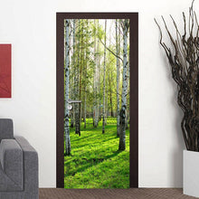 Load image into Gallery viewer, Pastoral Style 3D Green Forest Door Mural Living Room Bedroom Door Wallpaper Home PVC Waterproof Self-adhesive Door Sticker Wall - WallpaperUniversity