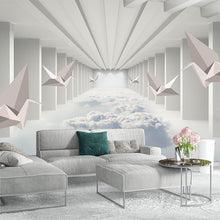 Load image into Gallery viewer, Custom 3D Wallpaper 3D Paper Crane Abstract Architecture Cloud Simple Home Decor Wall Mural Living Room Bedroom Papel De Parede - WallpaperUniversity