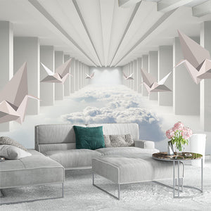 Custom 3D Wallpaper 3D Paper Crane Abstract Architecture Cloud Simple Home Decor Wall Mural Living Room Bedroom Papel De Parede - WallpaperUniversity