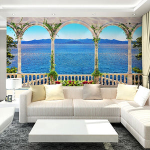Custom Wall Mural Wallpaper 3D Window Sea View Large Wall Painting Living Room Sofa TV Background Straw Pattern Wallpaper Modern - WallpaperUniversity