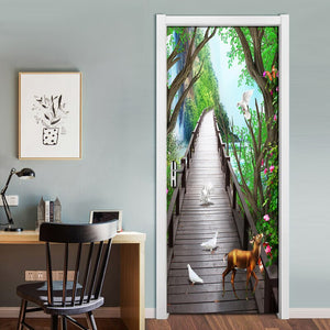 Forest Wooden Bridge Elk Nature Landscape 3D Door Mural Living Room Bedroom Door Fresco Photo Wallpaper Waterproof Door Sticker - vouswall.com