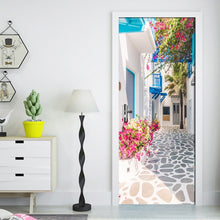 Load image into Gallery viewer, Living Room Bedroom Door Wall Sticker PVC Waterproof Wallpaper Decoration Romance Greek Street View 3D Door Mural Wallpaper Roll - WallpaperUniversity
