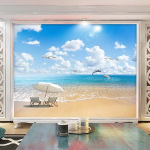 Custom 3D Photo Wallpaper Sandy Beach Seascape Sea Wave Living Room Bedroom Sofa TV Background Wall Decoration Mural De Parede - WallpaperUniversity